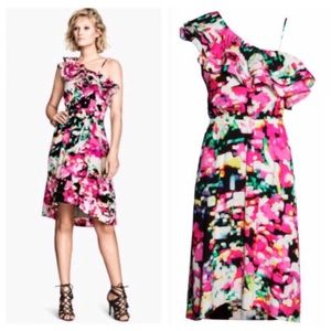 H&M multicolored one shoulder dress ruffles Sz 6